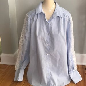 H&M lt blue/white pinstripe shirt, lace sleeve NWT